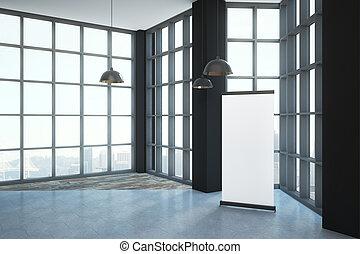 Blank poster in loft room