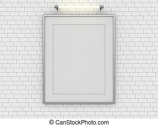 Blank poster in room with wall. Mock up, 3D