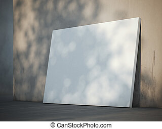 Blank poster near the wall. 3d rendering