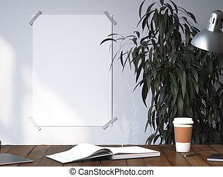 Blank poster on a wall near workplace. 3d rendering