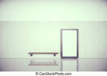Blank poster on the wall and wooden bench in empty hall, mock up, 3D Render