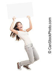 Blank poster sign woman excited - Poster sign woman excited...