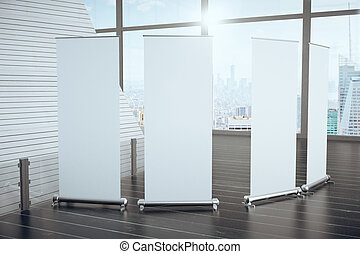 Blank posters on wooden floor in futuristic interior and big windows with city view, mock up, 3D render
