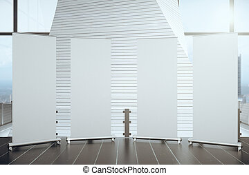 Blank posters on wooden floor in futuristic interior hall with big windows, mock up, 3D render