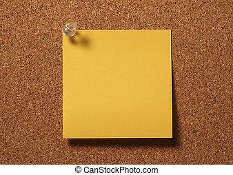 Blank Postit - Photo of Postit Tacked To Corkboard. Left...