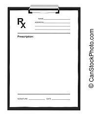 Blank prescription form, isolated on white background.