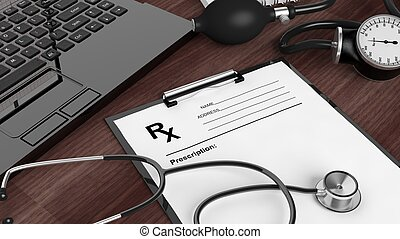 Blank prescription form, medical equipment and laptop on...