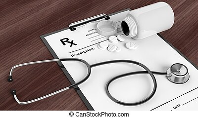 Blank prescription form with bottle of pills and stethoscope, on wooden desktop.