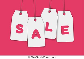Blank price sale tag composition isolated on pink background