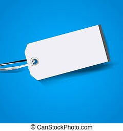 Blank price tag isolated on blue background. Vector...