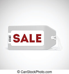 Blank price tag isolated on white with text Sale and soft...