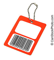 blank price tag with fake bar code - close-up of a blank...