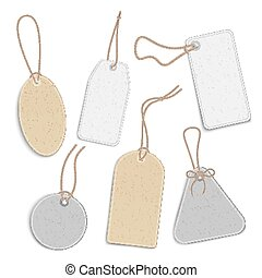 Blank price tags or empty labels set of realistic vector illustration isolated.