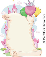Illustration of a Blank Pink Princess Party Scroll