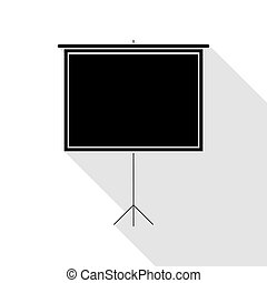Blank Projection screen. Black icon with flat style shadow path.