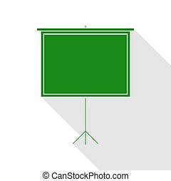Blank Projection screen. Green icon with flat style shadow path.