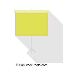 Blank Projection screen. Pear icon with flat style shadow path.