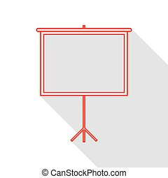 Blank Projection screen. Red icon with flat style shadow path.