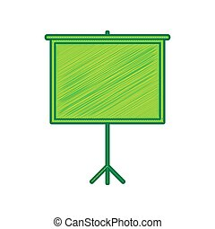 Blank Projection screen. Vector. Lemon scribble icon on white background. Isolated