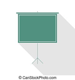 Blank Projection screen. Veridian icon with flat style shadow path.