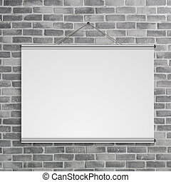 3D illustration of blank projector screen hanging on old grey brick wall
