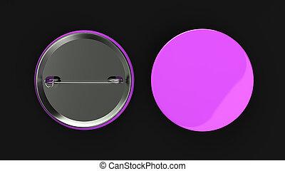 Blank purple badge on black background