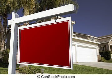 Blank Real Estate Sign and House - Blank Real Estate Sign in...