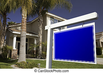 Blank Real Estate Sign and House