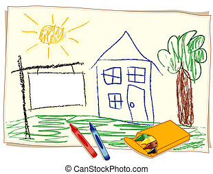Blank Real Estate Sign, Crayon - Child's crayon drawing on...