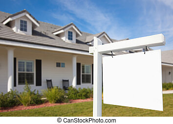 Blank Real Estate Sign & Home