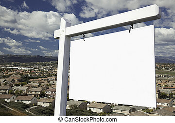 Blank Real Estate Sign Over Elevated Housing Community View...