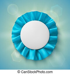 Blank, realistic blue fabric award ribbon.
