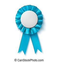 Blank, realistic blue fabric award ribbon.