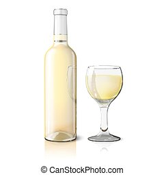Blank realistic bottle for wine with glass isolated on white background. Vector