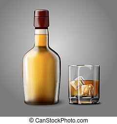 Blank realistic bottle with glass of whiskey and ice, isolated.