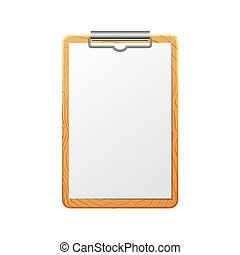 Blank realistic checklist on wooden board isolated on white