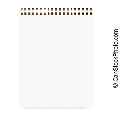 Blank Realistic Notepad Isolated On White Background