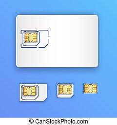 Blank realistic SIM card. Set of SIM cards. Full size, mini,...