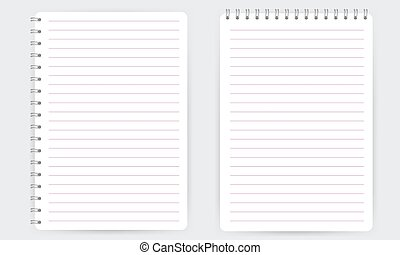 Blank realistic spiral notepad notebook with lines isolated vector
