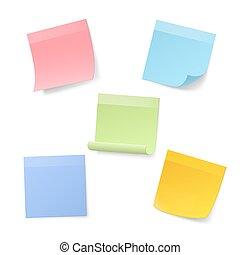 Blank Realistic Sticky Note Papers. Vector illustration