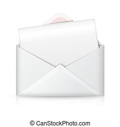 Blank realistic vector white opened envelope and postcard for your text.