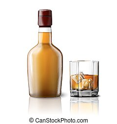 Blank realistic whiskey bottle with glass, isolated on white background. Vector
