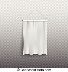 Blank realistic white pennant with flowing silk fabric - isolated mockup