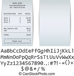 Blank Receipt and Alphabet Set with Example on White...