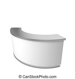 Blank reception counter. 3d illustration isolated on white...