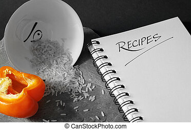 Blank Recipe Book - A black and white image of a small...