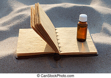 Blank recipe book for the preparation of natural herbal medicines. Copy space