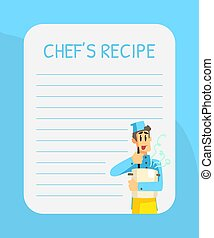 Blank Recipe Card Template with Cheerful Chef, Cookbook Page Vector Illustration