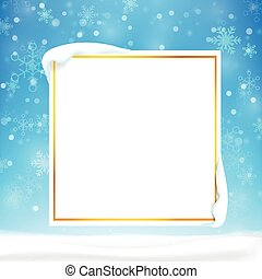Blank rectangle frame with copy space and winter snow flake falling into snow floor  and lighting over blue abstract background for winter celebration and christmas promotion template vector illustration