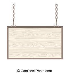 Blank rectangular wooden signboard hanging on metallic chain. Vector flat monochrome